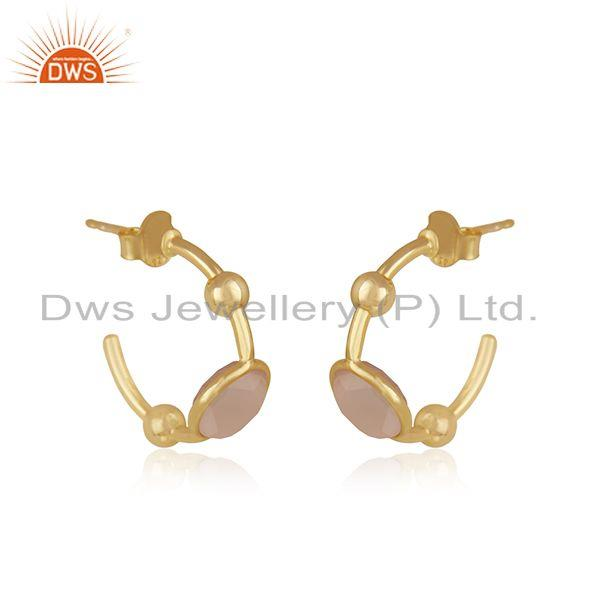 Exporter Rose Chalcedony Gemstone 925 Silver Gold Plated Hoop Earring for Womens