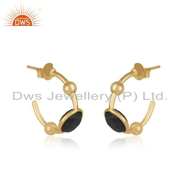Exporter Black Onyx Designer Silver Gold Plated Earrings Jewelry