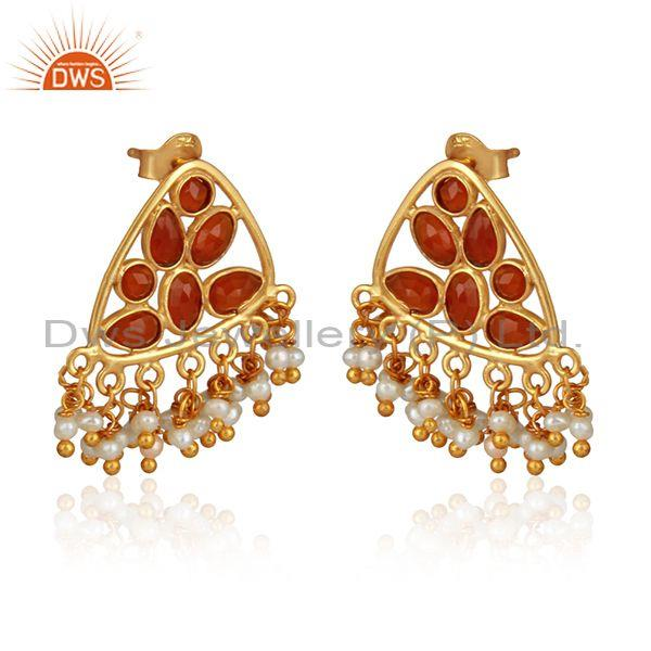 Red onyx pearl beaded gemstone womens gold plated silver earrings