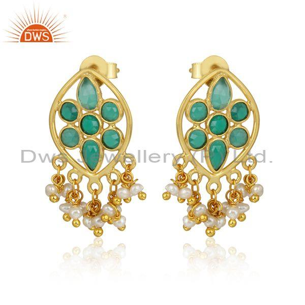 Green onyx pearl gemstone designer gold plated 925 silver earring