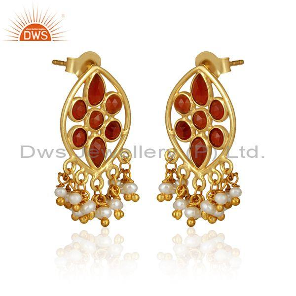 Red onyx pearl bead gemstone designer silver gold plated earrings