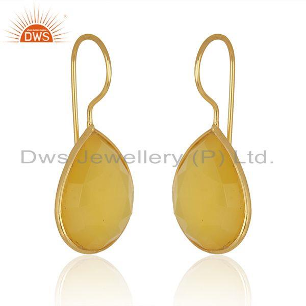 Exporter Yellow Chalcedony Gemstone Gold Plated 925 Silver Earrings Supplier