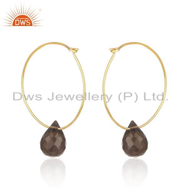 Exporter Smoky Quartz Gemstone Gold Plated 925 Silver Hoop Earring Wholesale