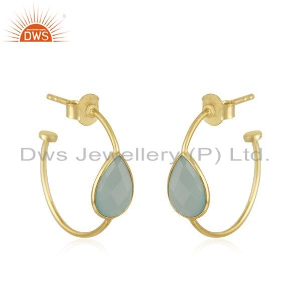 Exporter Gold Plated 925 Silver Aqua Chalcedony Gemstone Hoop Earrings Jewelry