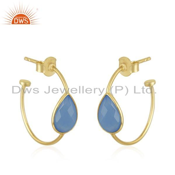 Exporter Gold Plated 925 Silver Blue Chalcedony Gemstone Hoop Earrings Jewelry