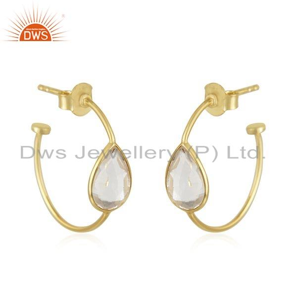 Exporter Crystal Quartz Gemstone Gold Plated Silver Girls Hoop Earrings Jewelry