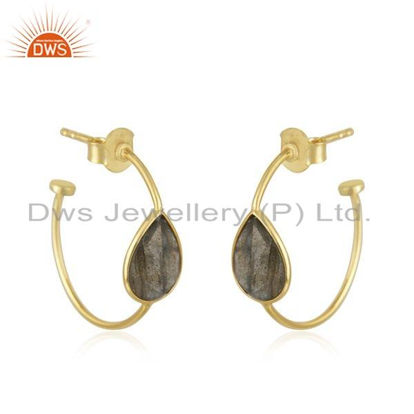Exporter Labradorite Gemstone Gold Plated Sterling Silver Hoop Earrings Jewelry