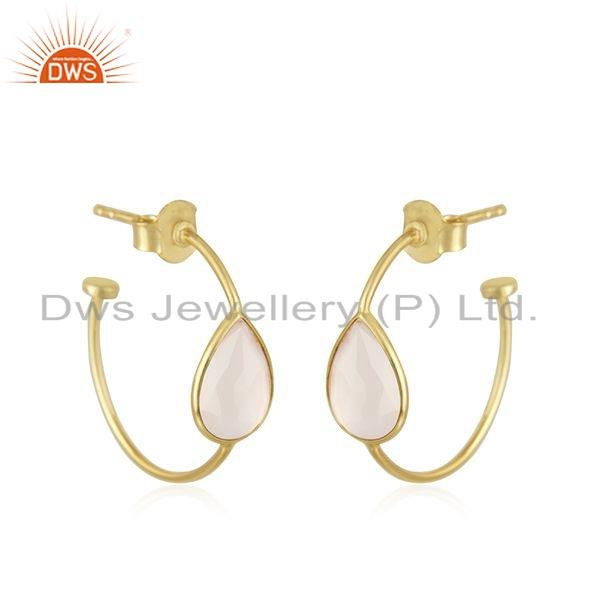 Exporter Gold Plated 925 Silver Rose Chalcedony Gemstone Earrings Jewelry