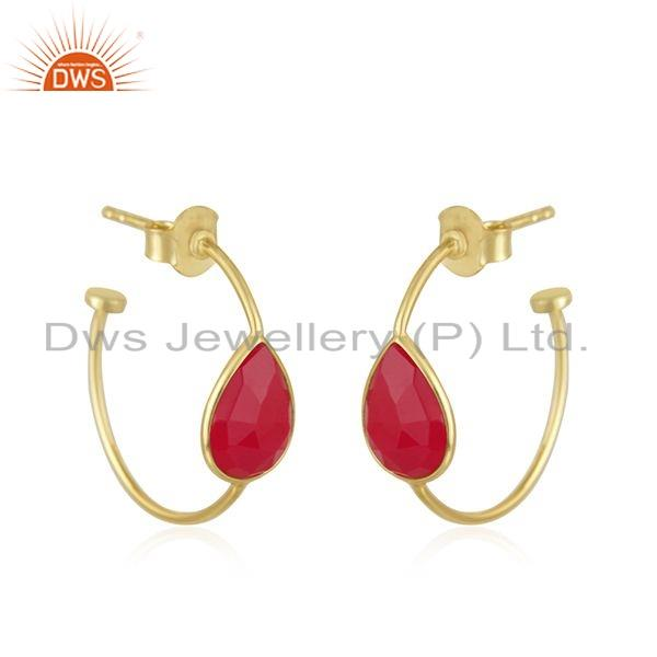 Exporter Pink Chalcedony Gemstone 18k Gold Plated 925 Silver Earrings Jewelry