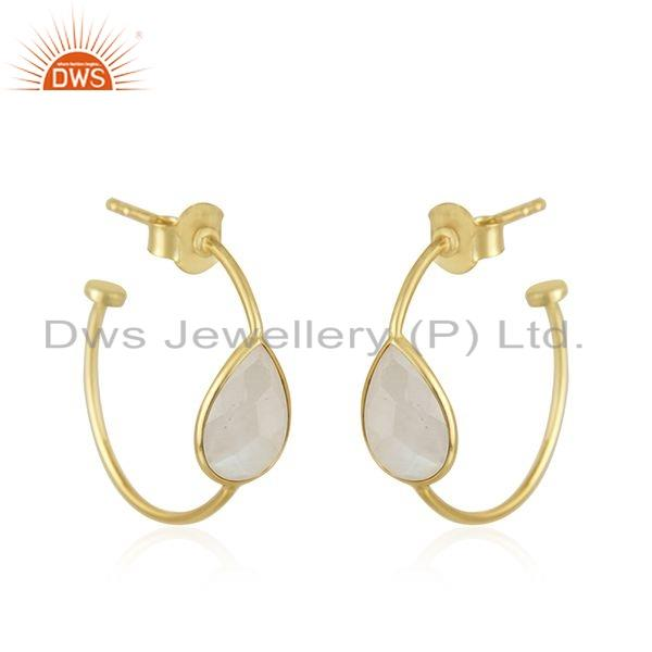 Exporter Rainbow Moonstone Gemstone Gold Plated 925 Silver Hoop Earring Jewelry