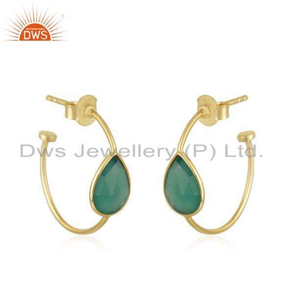 Exporter Gold Plated 925 Silver Natural Green Onyx Gemstone Hoop Earrings Jewelry