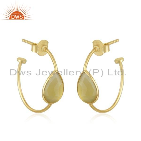 Exporter Gold Plated 925 Silver 18k Gold Plated 925 Silver Hoop Earring Jewelry