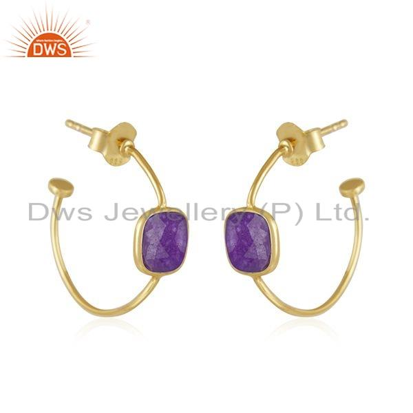 Exporter Gold Plated 925 Silver Purple Aventurine Gemstone Hoop Earring Jewelry