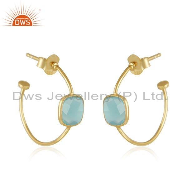 Exporter Chalcedony Gemstone Handmade Gold Plated Silver Hoop Earrings Jewelry
