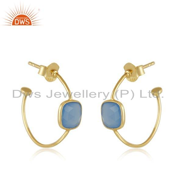 Exporter Blue Chalcedony Gemstone Gold Plated 925 Silver Girls Earrings Jewelry