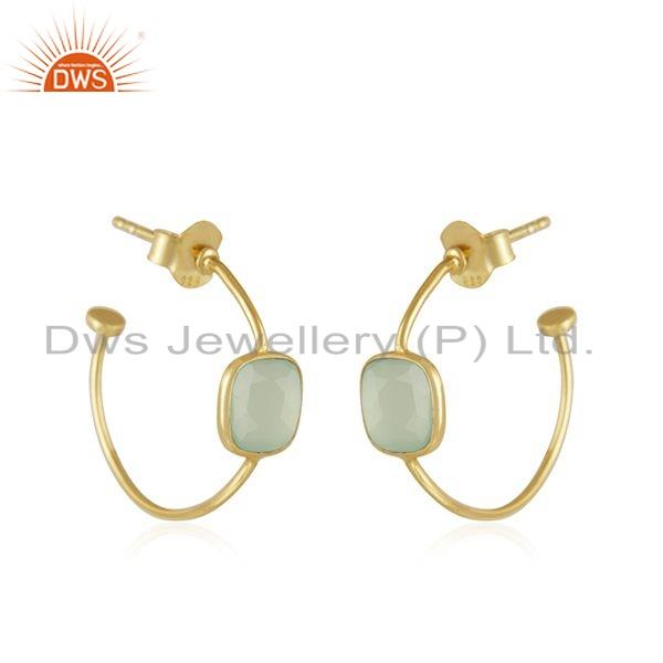 Exporter Chalcedony Gemstone Gold Plated Silver Hoop Earrings For Girls Jewelry