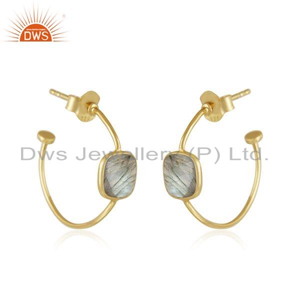 Exporter Natural Labradorite Gemstone Hoop Earrings Gold Plated Silver Jewelry