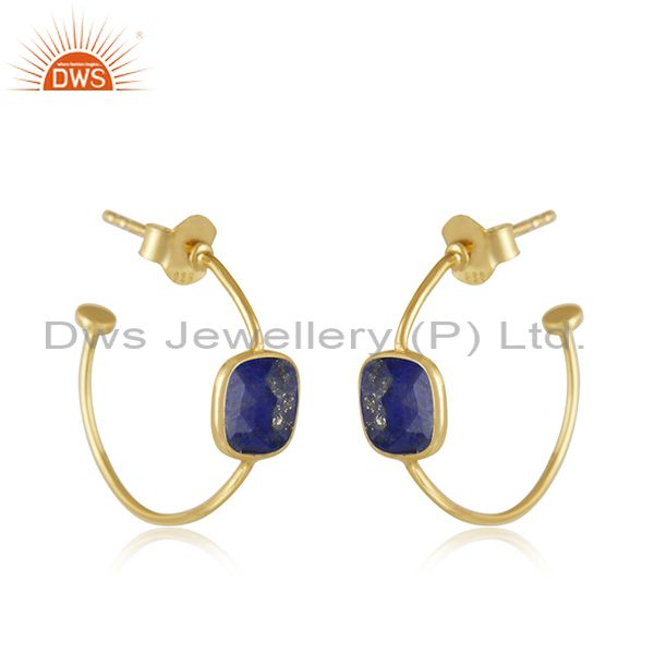 Exporter Gold Plated Silver Natural Lapis Lazuli Gemstone Hoop Earrings Jewelry