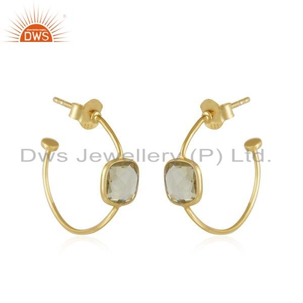 Exporter Natural Lemon Topaz Gemstone Gold Plated 925 Silver Hoop Earrings