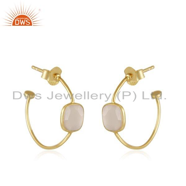 Exporter Rose Chalcedony Gemstone Gold Plated Designer Silver Earrings Jewelry