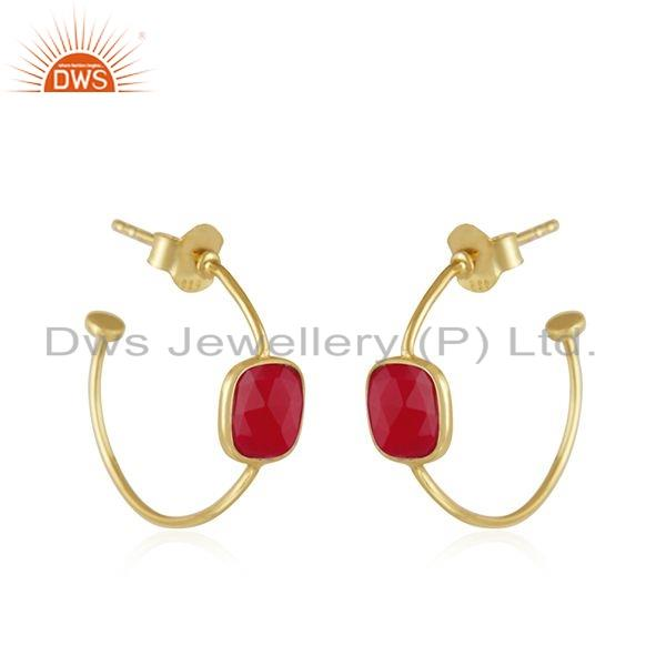 Exporter Chalcedony Gemstone Gold Plated 925 Silver Hoop Earrings Jewelry