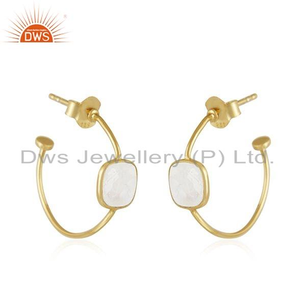 Exporter Gold Plated 925 Silver Rainbow Moonstone Gemstone Hoop Earring Jewelry