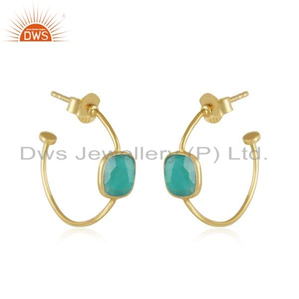 Exporter Green Onyx Gemstone Designer Gold Plated 925 Silver Earrings Jewelry