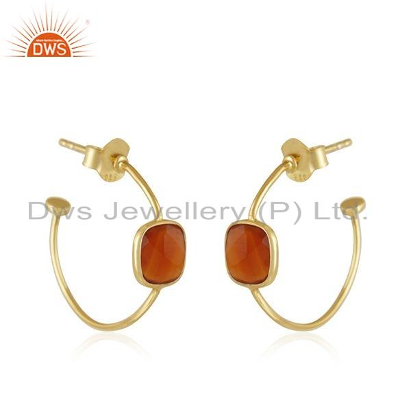 Exporter Gold Plated Designer 925 Silver Red Onyx Gemstone Hoop Earring Jewelry