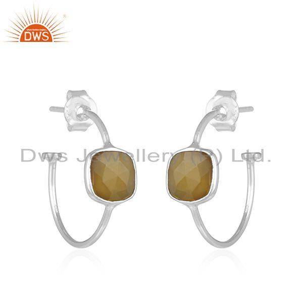 Exporter Yellow Chalcedony Sterling Fine Silver Hoop Earrings Manufacturer