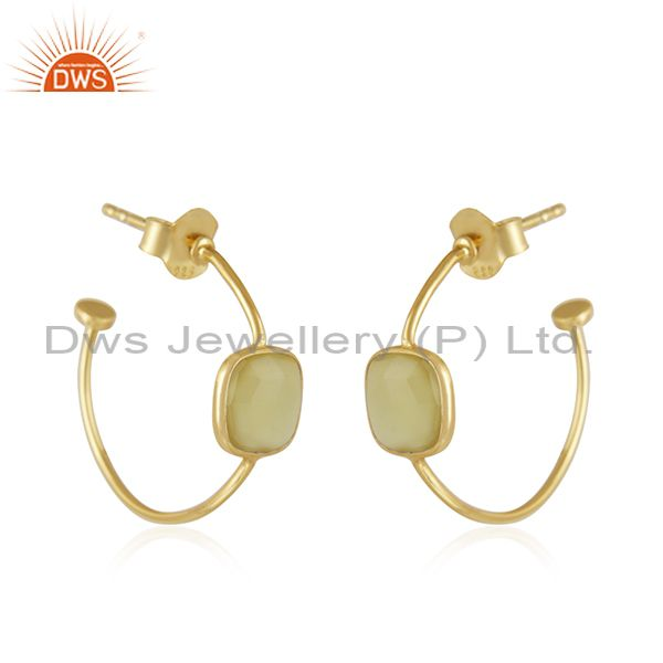 Exporter Yellow Chalcedony Gemstone Gold Plated 925 Silver Hoop Earring Jewelry