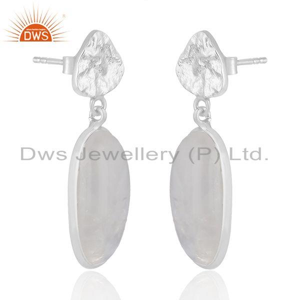 Exporter Rainbow Moonstone Designer Fine Sterling Silver Handmade Earrings