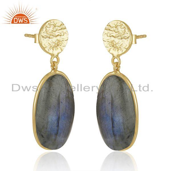 Exporter Labradorite Gemstone Yellow Gold Plated 925 Sterling Silver Earrings