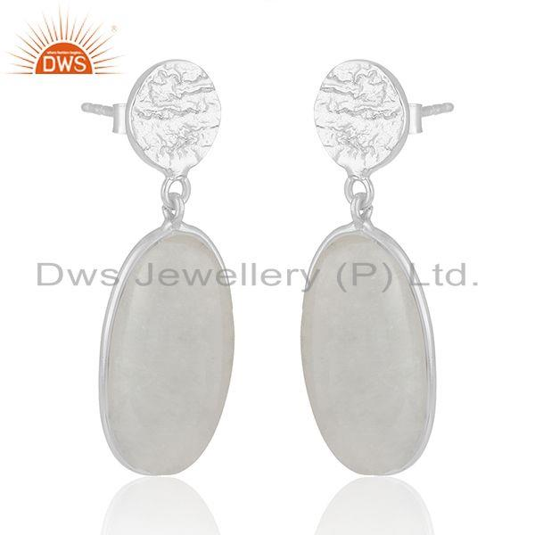Manufacturer of Handmade Fine Sterling Silver Rainbow Moonstone Earrings Wholesaler