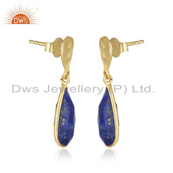 Exporter New Lapis Lazuli Gemstone Handmade Gold Plated Silver Earings Jewelry
