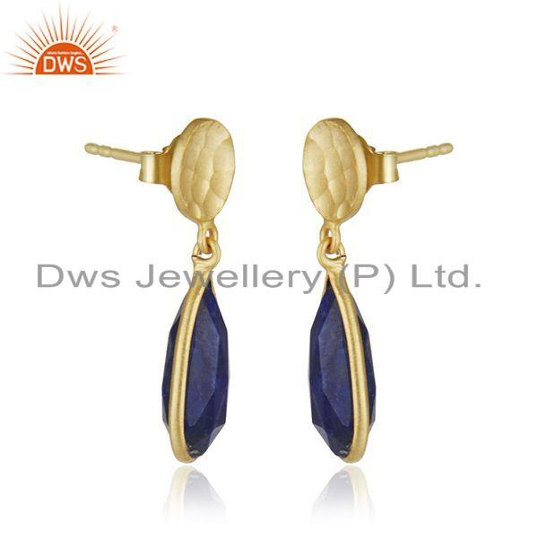 Exporter 18k Gold Plated 925 Silver Lapis Lazuli Gemstone Earrings Jewelry