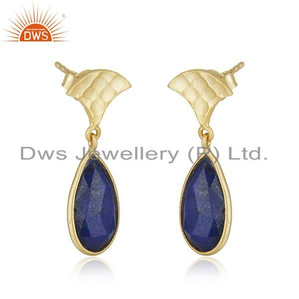 Exporter Lapis Lazuli Gemstone Gold Plated 925 Silver Designer Earrings Jewelry
