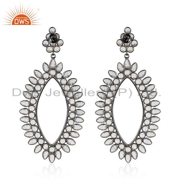 Exporter Antique Rhodium Plated Silver White Zircon Gemstone Womens Earrings