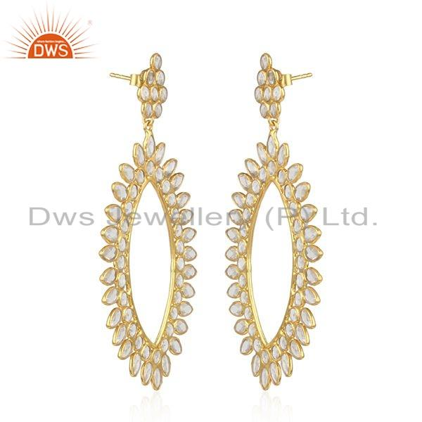 Exporter Traditional Design Gold Plated Silver Womens Zircon Earrings Jewelry