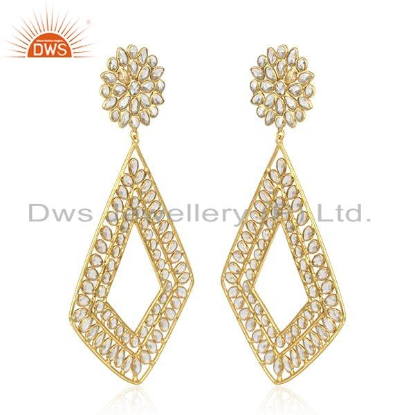 Exporter Womens Designer Gold Plated Silver CZ Gemstone Earrings Jewelry
