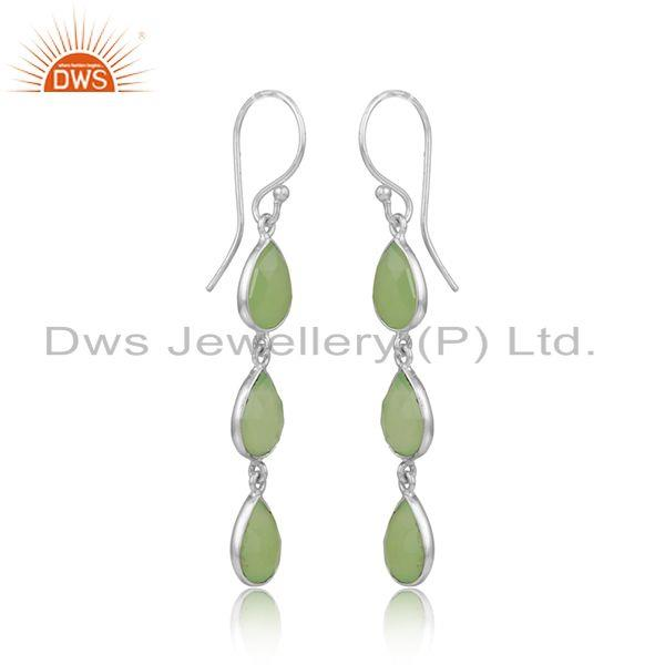 Prehnite chalcedony gemstone sterling fine silver dangle earring