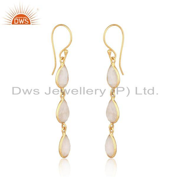 Handmade dangle earring in yellow gold on silver with rose quartz