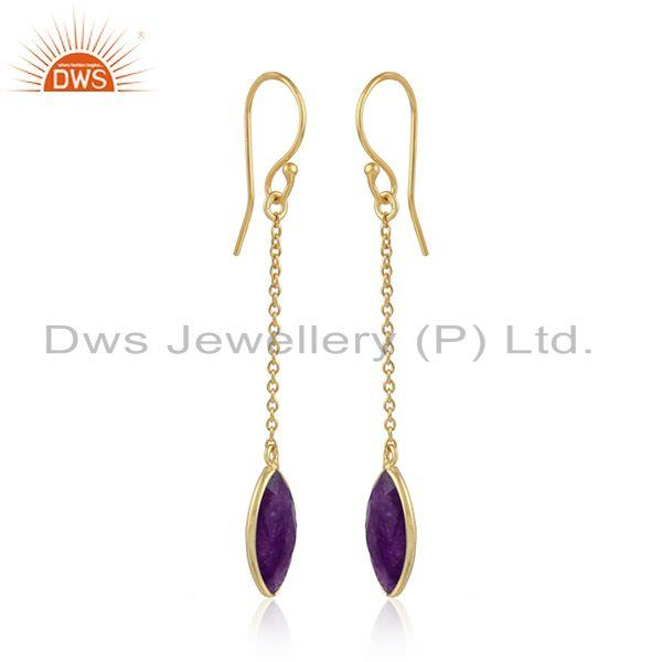 Gold plated designer 925 silver aventurine gemstone chain earring