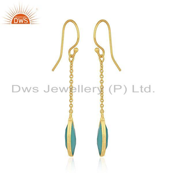 Exporter Aqua Chalcedony Gemstone 925 Silver Gold Plated Silver Chain Earrings