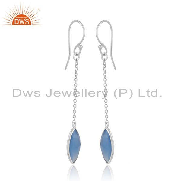 Blue chalcedony gemstone fine sterling silver chain earrings