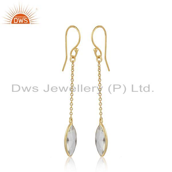 Crystal quartz gemstone designer gold plated silver chain earring