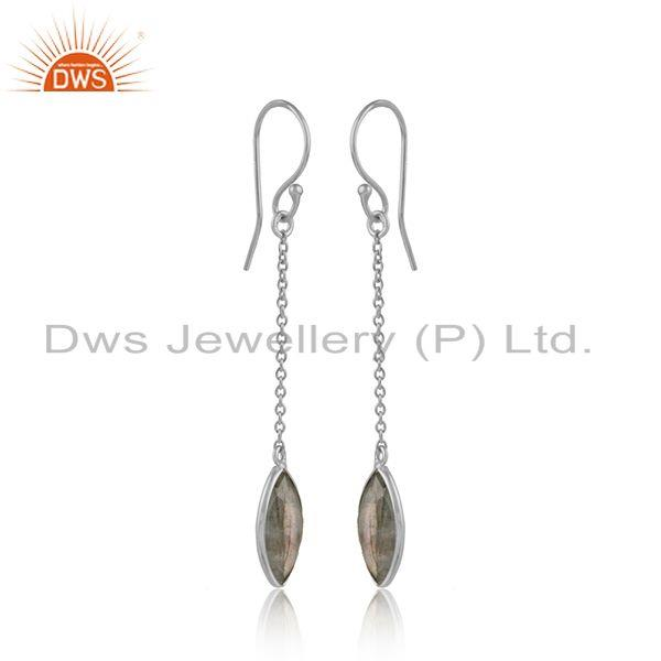 Labradorite gemstone designer fine silver womens chain earrings