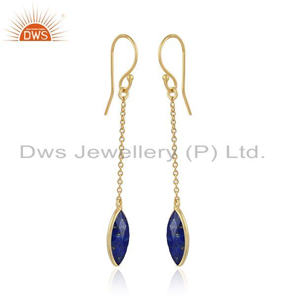 Lapis lazuli gemstone designer silver gold plated chain earrings