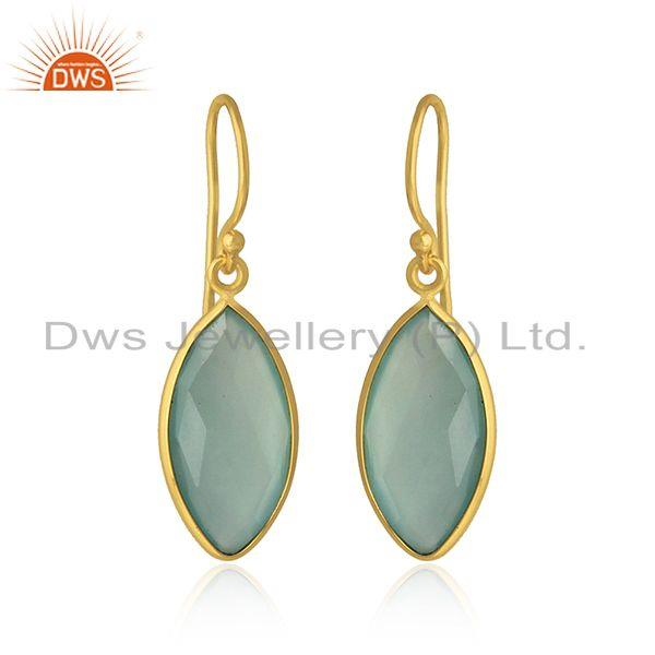 Exporter Marquise Aqua Chalcedony Gemstone Gold Plated Silver Hook Earrings