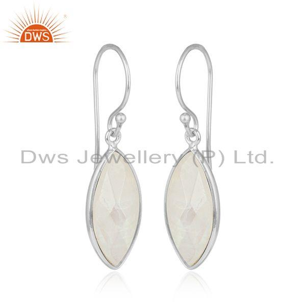 Rainbow moonstone designer fine sterling silver womens earrings