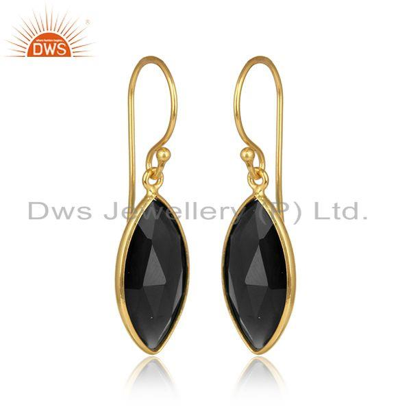 Black onyx gemstone designer gold plated womens silver earring